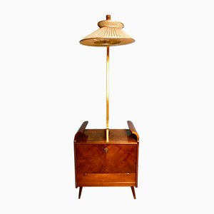 Art Deco Cocktailschrank mit Lampe von Wilhelm Krechlok, 1930er