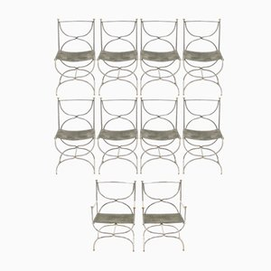Brass & Steel Curule Savonarola Dining Chairs from Maison Jansen, 1960s, Set of 10