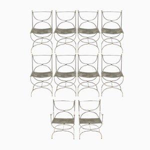 Curule Savonarola Esszimmerstühle aus Messing & Stahl von Maison Jansen, 1960er, 10er Set