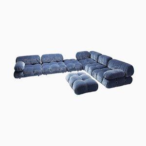 Blaues unterteiltes Sofa aus Samt von Mario Bellini für B&B Italia, 1970er