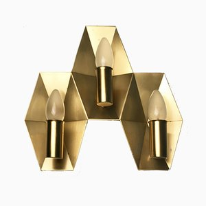 Vintage Danish Triple Brass Wall Light from Fog & Mørup, 1960s
