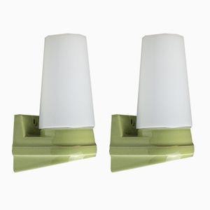 Model 6080 Green Porcelain and Opaline Glass Wall Lights by Sigvard Bernadotte for IFÖ, 1960s, Set of 2