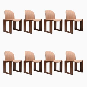 Model 121 Wood and Walnut Side Chairs by Afra & Tobia Scarpa for Cassina, 1970s, Set of 8