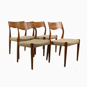Model 71 Dining Chairs by Niels O. Møller for J.L. Møllers, 1960s, Set of 4