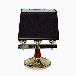 Lampada da tavolo Art Deco in bronzo massiccio e palissandro, anni '30