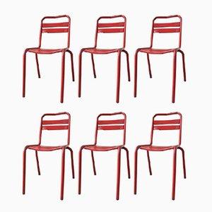 Sedie da ristorante vintage in metallo rosso, Francia, set di 6