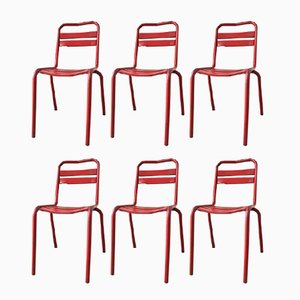 Vintage French Red Metallic Bistro Chairs, Set of 6