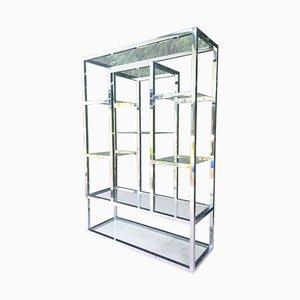 Estantería moderna de metal cromado y vidrio de Milo Baughman, años 70