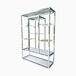 Modernist Chrome & Glass Shelving Unit by Milo Baughman, 1970s