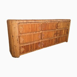 Mid-Century Tropical Stacked Rattan Dresser
