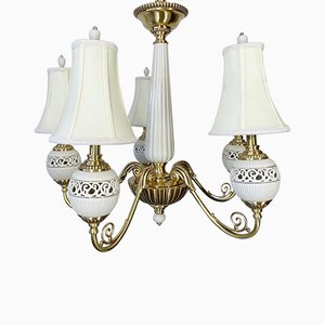 Brass & Ceramic 5-Light Chandelier from Lenox, 2000s
