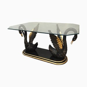Vintage Sculptural Black Swan Dining Table, 1970s