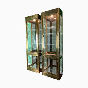 Brass and Glass Vitrine Display Cabinets from Mastercraft, 1970s, Set of 2