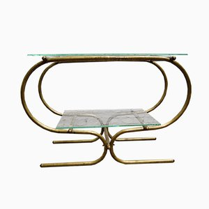 Vintage Bauhaus Tubular Brass Side Table, 1930s