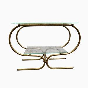 Vintage Bauhaus Tubular Brass Side Table, 1930s