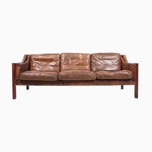 Leather Sofa by Poul M. Volther for Erik Jørgensen, 1960s