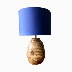 Vintage Textured Stoneware and Brass Table Lamp