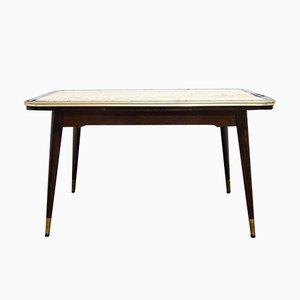 Mesa de comedor ajustable vintage con tablero de vidrio estampado, años 50
