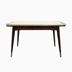 Vintage Adjustable Dining Table with Patterned Glass Top, 1950s