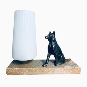 Art Deco German Shepherd Table Lamp, 1920s