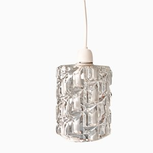 Mid-Century Pressed Glass Pendant Light