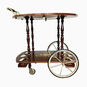 Mid-Century Italian Inlaid Marquetry Bar Cart