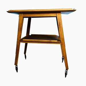 Mid-Century Angled Leg Wooden Bar Cart