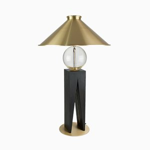 Large V Table Lamp with Geometric Oak Base, Glass Sphere, & Brass Details by Louis Jobst