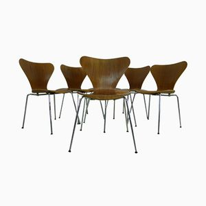 3107 Teakstühle von Arne Jacobsen für Fritz Hansen, 1980er, 6er Set