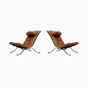 Ari Lehnstühle aus cognacbraunem Leder von Arne Norell, 1960er, 2er Set
