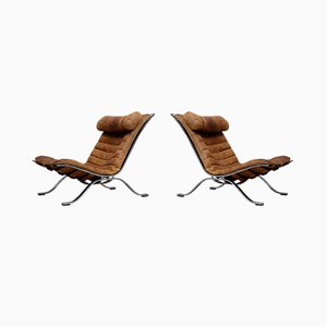 Cognac Brown Leather Ari Easy Chairs by Arne Norell, 1960s, Set of 2