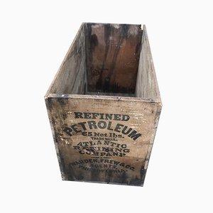 Caja de petróleo industrial vintage de madera, años 40