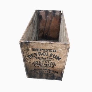 Vintage Industrial Wooden Petroleum Crate, 1940s