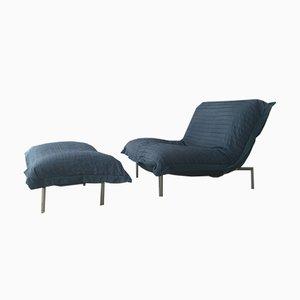 Blauer Calin Sessel & Fußhocker von Pascal Mourgue für Cinna, 1980er