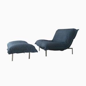 Blue Calin Lounge Chair & Footstool by Pascal Mourgue for Cinna, 1980s