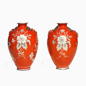 Orange Floral Pottery Vases from Deruta, 1930s, Set of 2