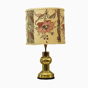 Vintage Table Lamp with Floral Lampshade, 1950s