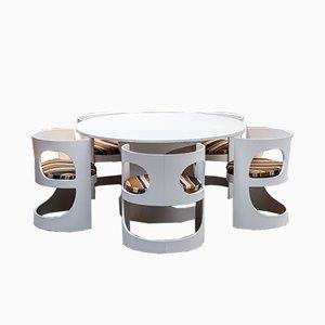 Juego de comedor lacado en blanco de Arne Jacobsen para Asko, años 60