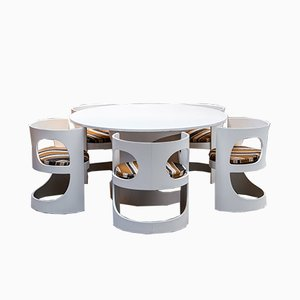 White Lacquered Dining Room Set by Arne Jacobsen for Asko, 1960s