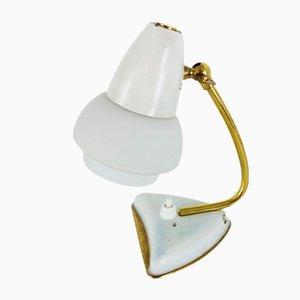 Lampada da tavolo piccola bianca con paralume in vetro e dettagli in ottone, anni '50