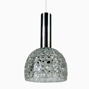 Heavy Bubble-Patterned Glass Pendant Light, 1960s