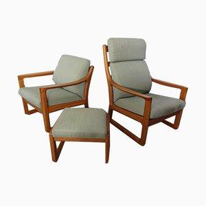 Sessel mit Gestell aus Teak & Hocker von CFC Silkeborg, 1960er, 3er Set
