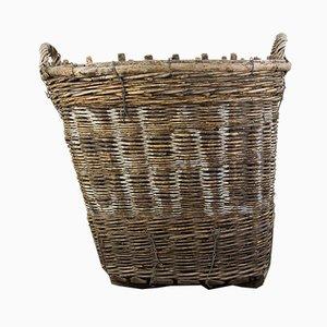 Ovaler antiker Traubenkorb aus Korbgeflecht