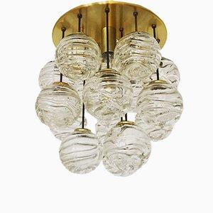 Lampada da soffitto in vetro dorato a bolle di Doria Leuchten, anni '60
