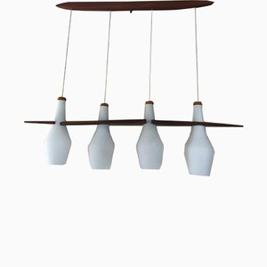 Teak and Opaline Suspension Lamp by Jean Rispal for Rispal, 1960s