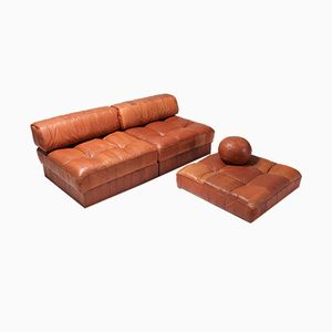 Sectional DS 88 Cognac Leather Patchwork Sofa from De Sede, 1980s