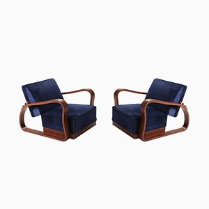 Art Deco Adjustable Blue Velvet Lounge Chairs, Set of 2