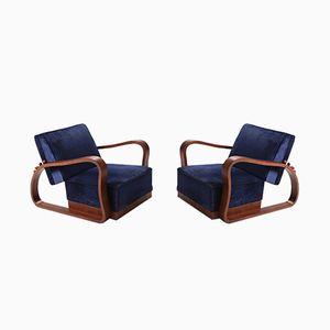 Verstellbare blaue Art Deco Samtsessel, 2er Set