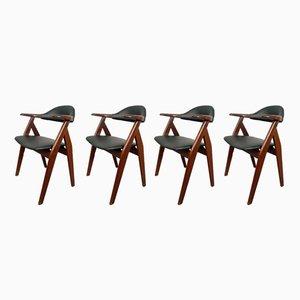 Niederländische Mid-Century Cowhorn Stühle, 1950er, 4er Set
