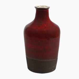 Vaso Mid-Century in ceramica rossa scura smaltata di Hybrid